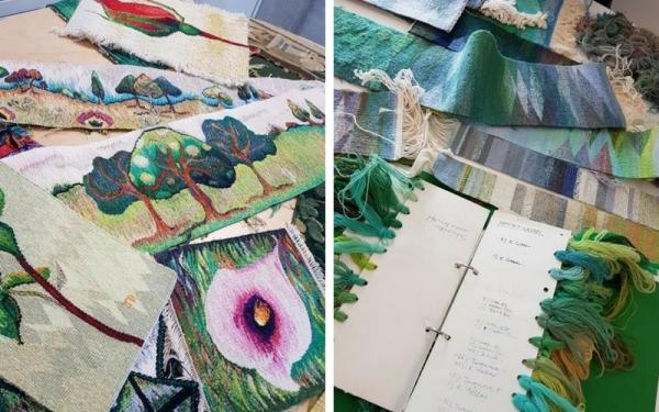 handweavers-guild-cork-Roscommon-international-fibre-arts-festival-2018-joan-baxters-john-brennan-samples-notes