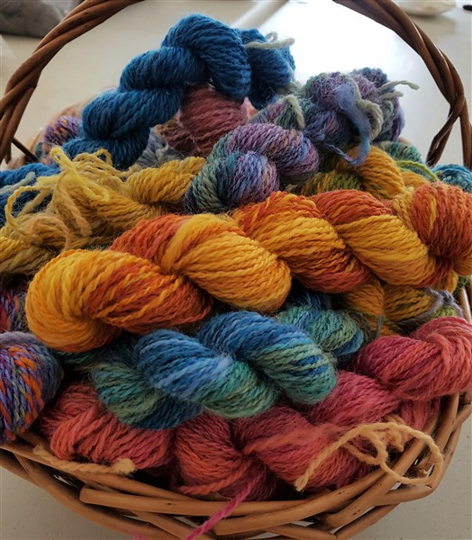 handweavers-guild-cork-may-meeting-spinning-shenanigans-basket-of-handspun-yarn